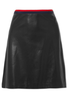 Gucci - Grosgrain-trimmed Leather Mini Skirt - Black
