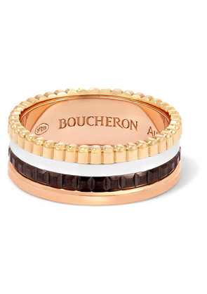 Boucheron - Quatre Classique Small 18-karat Yellow, Rose And White Gold Ring - 52