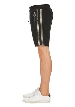 GOLD STRIPE SWEAT SHORTS