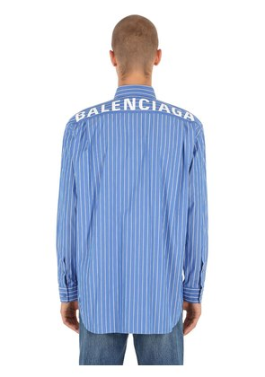 LOGO PRINTED STRIPED COTTON SHIRT