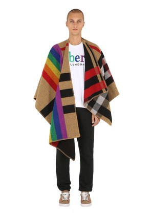 RAINBOW CHECK WOOL KNIT TRIANGLE CAPE