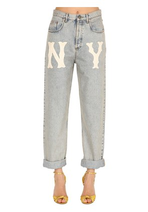WASHED DENIM JEANS W/ NY PATCH