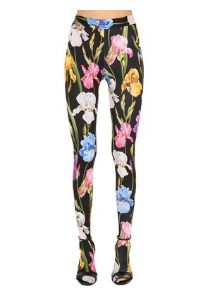 FLORAL PRINTED JERSEY SOCK LEGGINGS