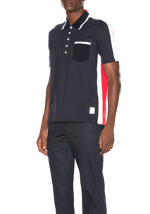 Thom Browne Bicolor Polo in Blue,Red