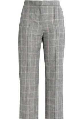 House Of Dagmar Woman Cropped Checked Linen-blend Straight-leg Pants Gray Size 38