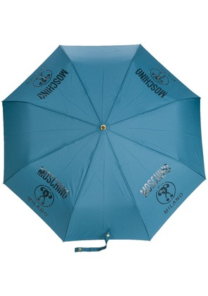 Moschino logo printed umbrella - Blue