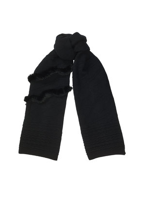 NORA Black Knitted Wool Scarf