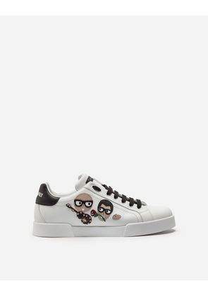 Dolce & Gabbana Sneakers and Slip-On - PORTOFINO SNEAKERS IN NAPPA CALFSKIN WITH DESIGNERS' PATCHES WHITE