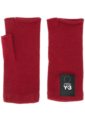 Y-3 fingerless knit mittens - Red