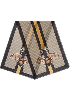Gucci Bee Web print wool stole - Nude & Neutrals