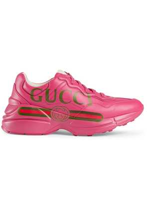 Gucci Rhyton Gucci logo leather sneaker - Pink & Purple