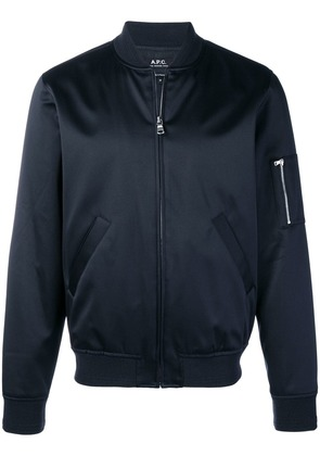 A.P.C. zipped front bomber jacket - Blue