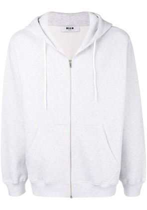 MSGM embroidered logo zipped hoodie - Grey