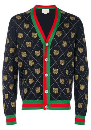 Gucci Tiger argyle knit cardigan - Blue
