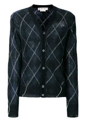 Marni semi-sheer diamond check cardigan - Blue