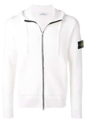 Stone Island zipped hooded sweater - White
