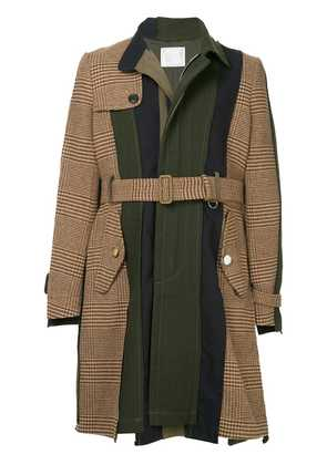 Sacai contrast panel belted coat - Brown