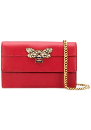 Gucci embellished bee crossbody bag - Red