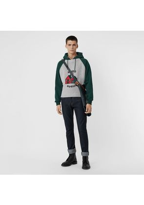 Burberry House Music Intarsia Jersey Hoodie, Green