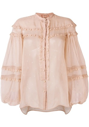 No21 embellished ruffle blouse - Nude & Neutrals
