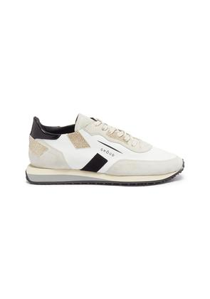 Suede panel leather sneakers
