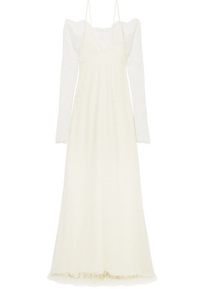 Danielle Frankel - Cold-shoulder Chantilly Lace And Chiffon Gown - Off-white