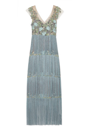 Marchesa Notte - Fringed Embellished Tulle And Satin Gown - Light blue