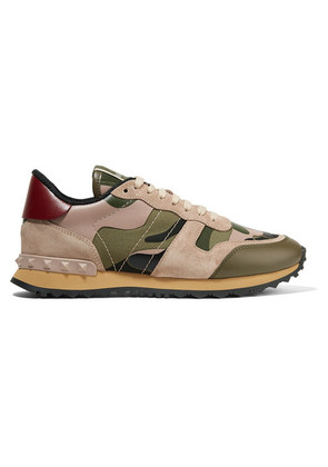 Valentino - Valentino Garavani Leather And Suede-trimmed Camouflage-print Canvas Sneakers - Army green