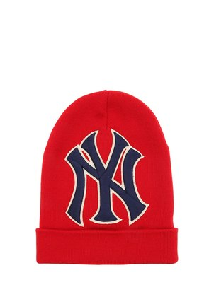 NY & GG PATCH WOOL KNIT BEANIE HAT