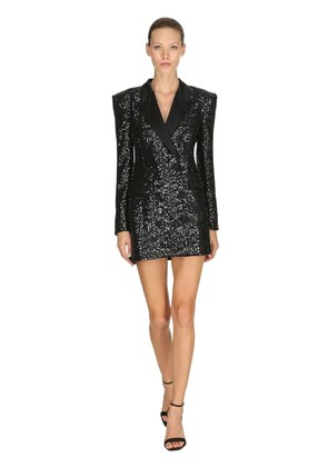 SEQUINED DOUBLE BREASTED BLAZER DRESS