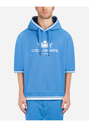 Dolce & Gabbana Sweaters - COTTON HOODIE WITH PRINT LIGHT BLUE