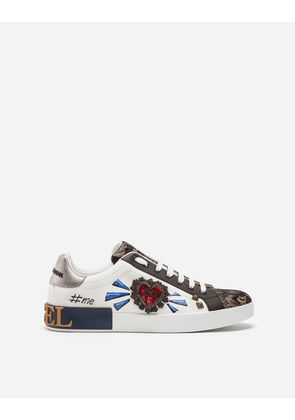 Dolce & Gabbana Sneakers and Slip-On - PORTOFINO SNEAKERS IN A MIX OF MATERIALS WITH PATCH MULTICOLOR