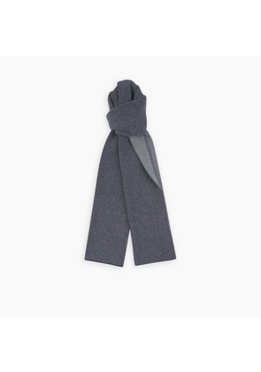 Reversible Navy and White Herringbone Cashmere Scarf