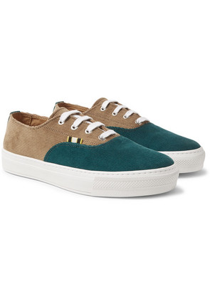 Aprix - Two-tone Corduroy Sneakers - Forest green