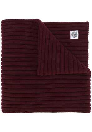 Stone Island thick ribbed knit scarf - Red