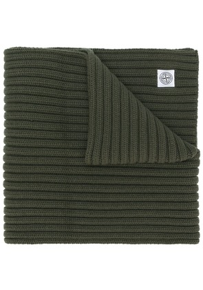 Stone Island thick ribbed knit scarf - Green