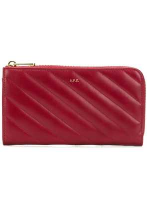 A.P.C. quilted zip wallet - Red