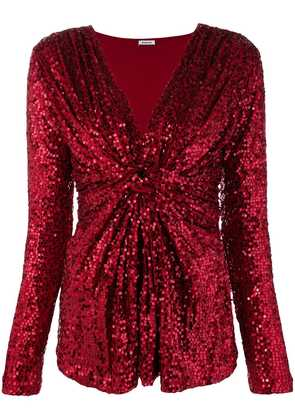 P.A.R.O.S.H. v-neck sequin blouse - Red
