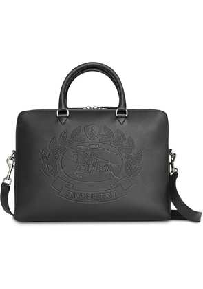 Burberry Embossed Crest Leather Briefcase - Black