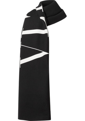 Valentino - Reversible Printed Wool And Cotton-blend Twill Scarf - Black