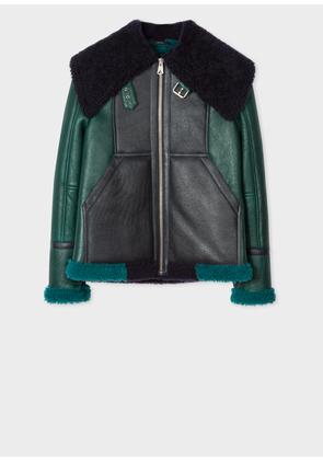 Women's Forest Green And Navy Shearling Aviator Jacket With Bouclé Collar
