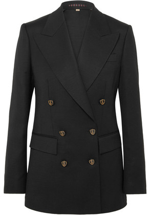 Burberry - Wool And Silk-blend Double-breasted Blazer - Black
