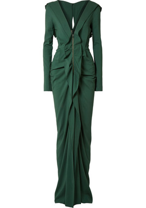 Roland Mouret - Compeyson Cutout Ruffled Stretch-crepe Gown - Forest green