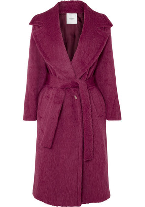 Agnona - Belted Alpaca And Wool-blend Coat - Pink