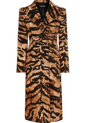 Dolce & Gabbana - Tiger-print Cotton-blend Coat - Brown