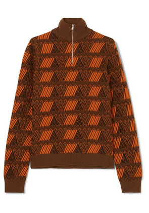 Prada - Intarsia Wool And Cashmere-blend Sweater - Brown