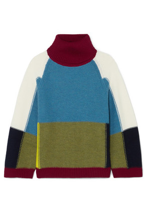 See By Chloé - Color-block Wool Turtleneck Sweater - Blue