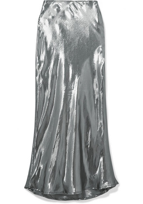 Georgia Alice - Hils Silk-blend Lamé Midi Skirt - Silver