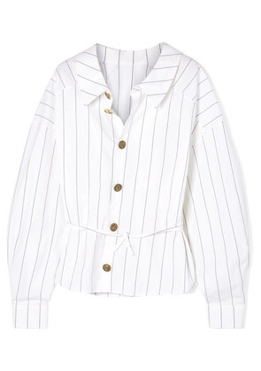 A.W.A.K.E. - Reversible Oversized Pinstriped Cotton-poplin Shirt - White