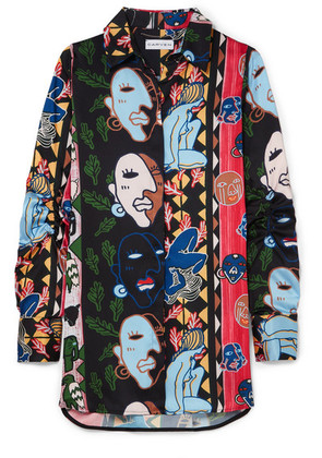 Carven - Printed Satin-twill Shirt - Black